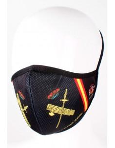 Mascarilla Guardia Civil en Negra con Bandera de España