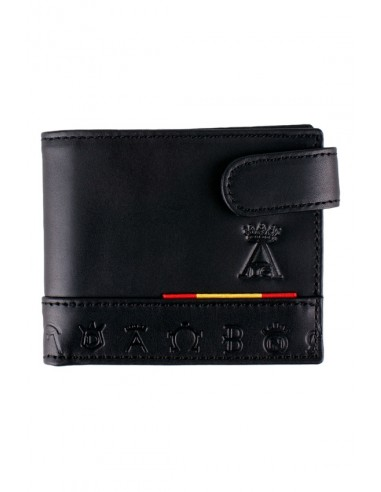 Spain Flag Black Leather Wallet with Engraved Pocket and Iron