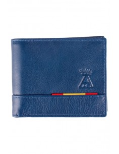 Blue Leather Spain Flag Wallet with Pocket