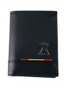 Black Leather Spain Flag Wallet
