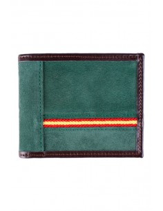 Leather and green Suede Wallet with Spain Flag