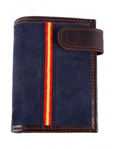 Leather and Blue Suede Wallet with Spain Flag