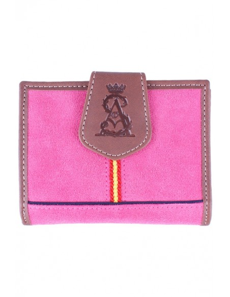 Women's Wallet in Leather and pink cape Split Leather Spain Flag