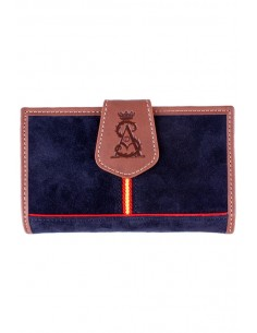 Women's Wallet in Leather and Blue Split Leather Spain Flag