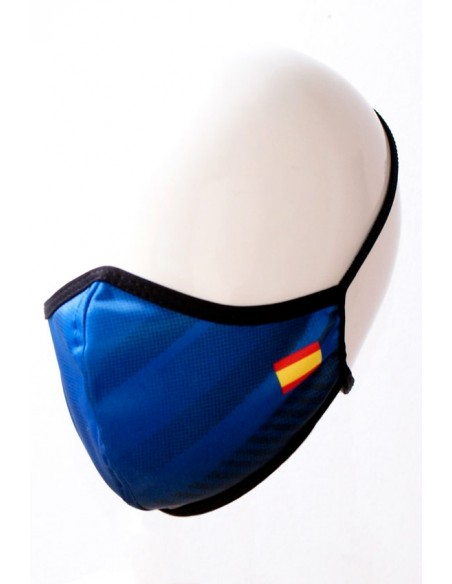 Mascarilla Azul con Bandera España Pequeña