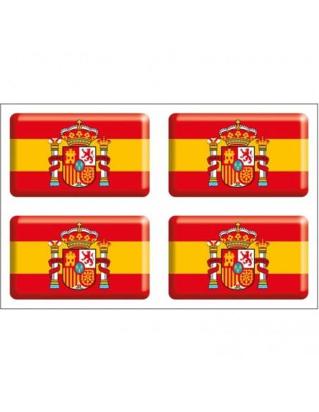 Pack de 4 Pegatinas Bandera España Actual con Volumen