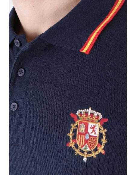 Polo bandera de España marino con escudo de Casa Real Juan Carlos I