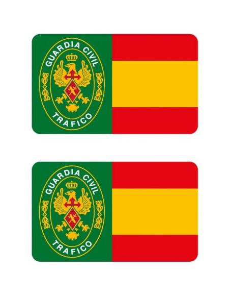 Pegatina Guardia Civil de trafico con Bandera España
