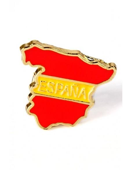 Pin esmaltado de la silueta del mapa de España y los colores de la bandera de España.