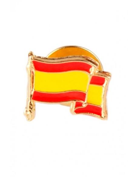 Pin esmaltado de la Bandera de España ondeante, sin escudo.