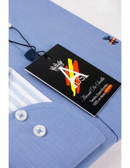 Camisa Azul con Bandera de España.