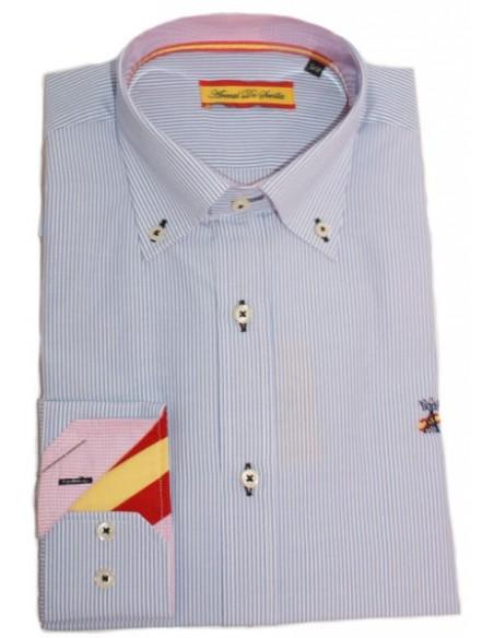 Camisa Bandera España de Rayas Blancas y celestes