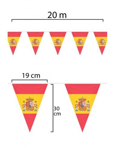 Guirnalda o Tira de Banderas de España de tela de 20m