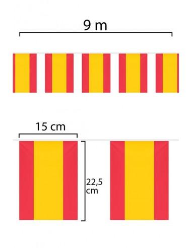 Guirnalda o Tira de Banderas de España de tela de 9m