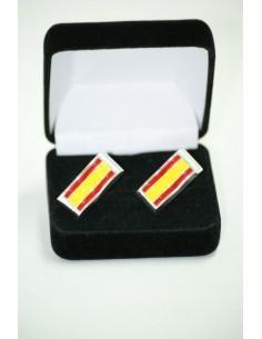 Gemelos Bandera España con Borde de Rodio