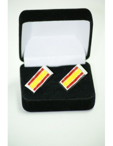 Cufflinks Spanish Flag with edge of rhodium