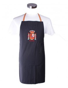navy blue apron with the Spain's badge