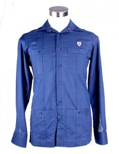 Cuban Guayabera Shirt - Navy Blue