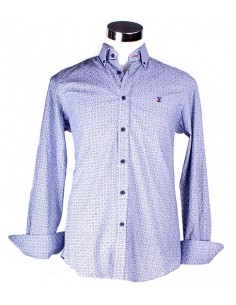 Printed Shirt White with Details Blue and Red