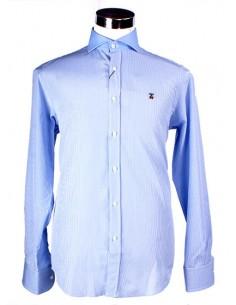 Camisa Cuadros Vichy con Cuello Italiano - Celeste