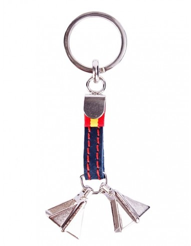 Leather Key Ring with Spanish Flag Details