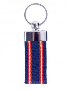 Canvas Keychain Blue Marine with Spain Flag x2