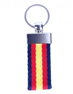 Navy Blue Canvas Key Ring with Spanish Flag Details