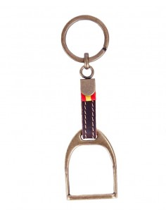 Leather Keychain with Stirrup and Spain Flag - Bronze