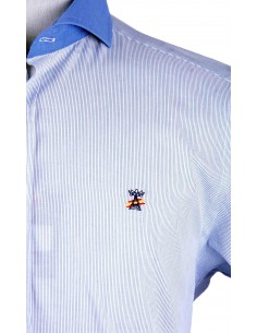 Camisa 1000 Rayas con Cuello Italiano - Azulón