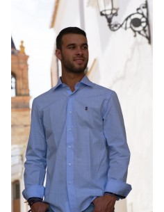 Checked Shirt - White and Sky Blue