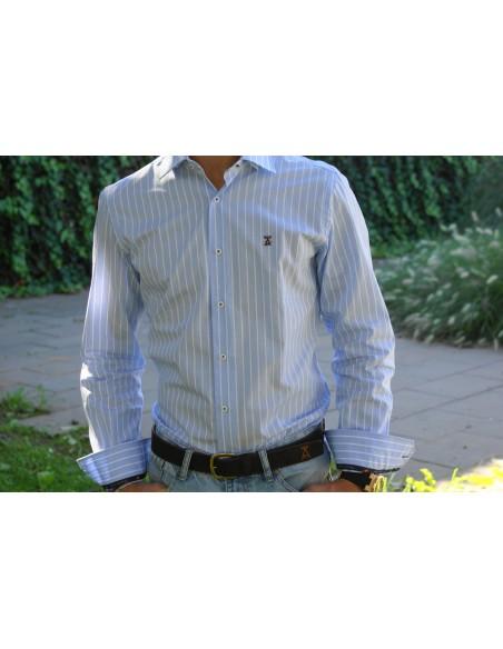 Camisa Rayas Clásica - Celeste