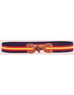 Spanish Flag Details Elastic Belt - Navy Blue