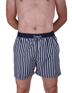 Nautical Striped Swinsuit - Navy Blue