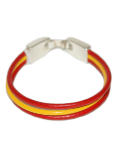 Spanish Flag 3-Cord Leather Bracelet