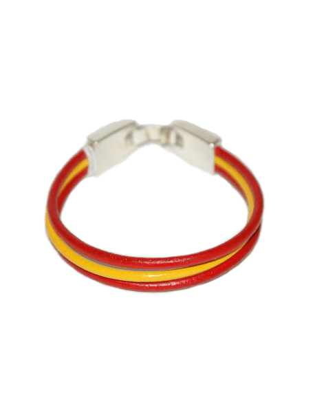 Leather Bracelet Spanish Flag