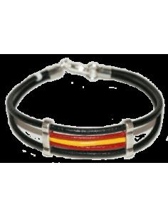 Pulsera Cuero Bandera España - Negra