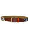 Checked Belt for Children - Camel and Blue