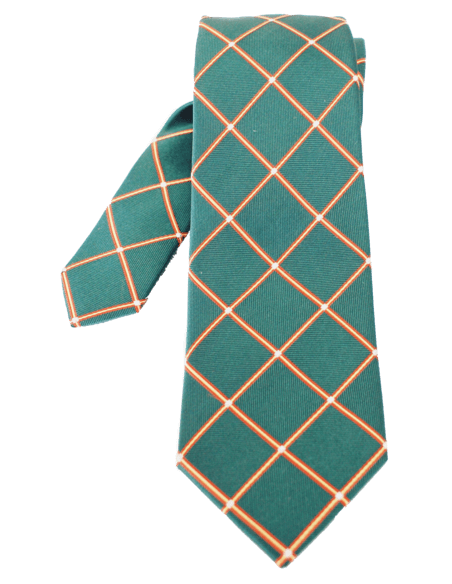 Rhombus pattern tie- green
