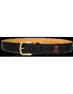 Split Leather Belt with Spanish Flag Details