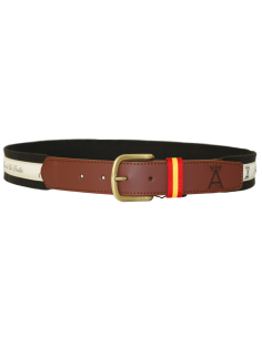 Belt with Embroidered Ribbon - Brown
