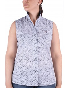 Flower Printed Sleeveless Shirt - White