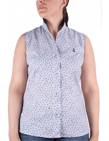 Flower Printed Sleeveless Shirt - White