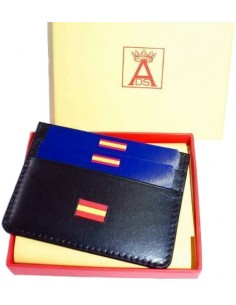 Card Holder Black Leather Spain Flag