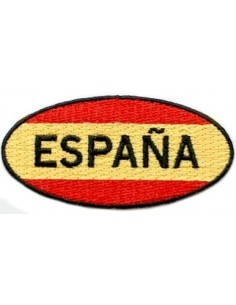 Oval spanish flag embroidered patch