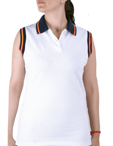 Sleeveless Polo Shirt with Spanish Flag Details - White
